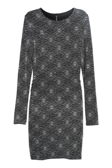 Glittery jersey dress - Black/Silver-coloured - Ladies | H&M CN