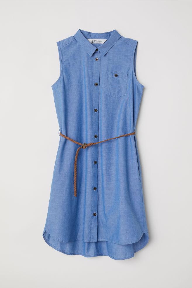 Košilové šaty bez rukávů - Modrá - DĚTI  464e49ae94
