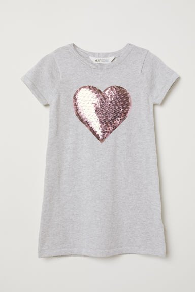 Dress with appliqué - Light grey marl/Heart - Kids | H&M CN