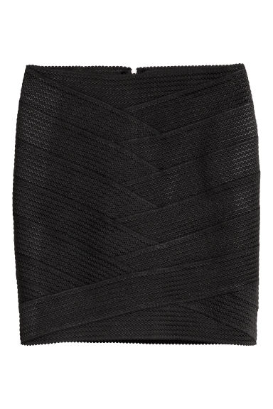 Textured skirt - Black -  | H&M CN