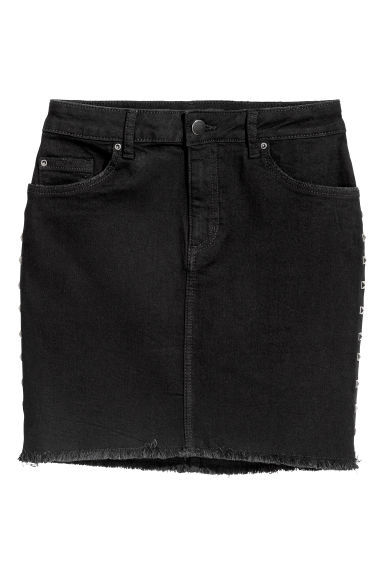 Gonna corta in jeans - Denim nero -  | H&M CH