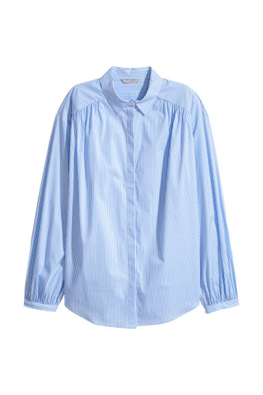 Textured-weave blouse - Light blue/White striped -  | H&M