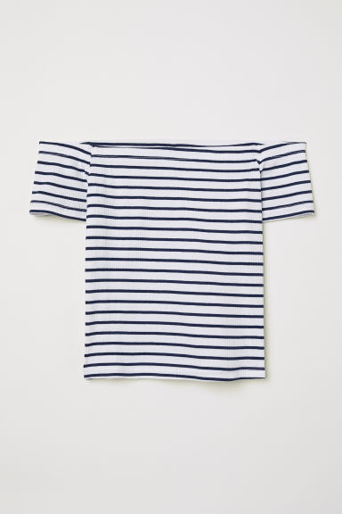 Ribbed off-the-shoulder top - Dark blue/White striped - Ladies | H&M
