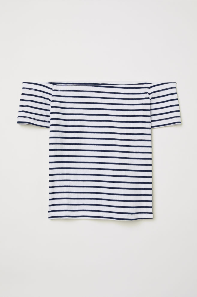 2811fa1f093b50 ... Ribbed Off-the-shoulder Top - Dark blue white striped - Ladies