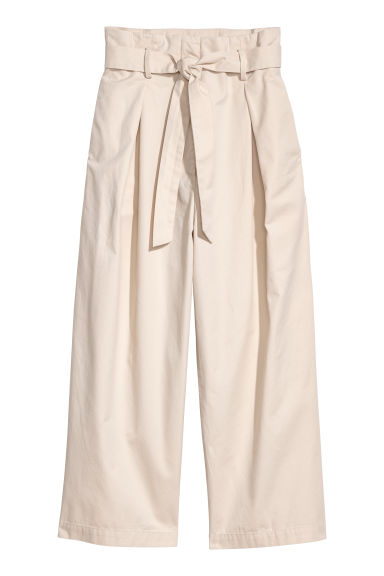 Wide cotton trousers - Light beige - Ladies | H&M CN