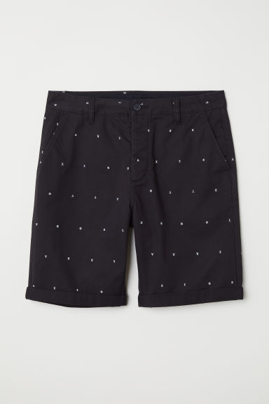 Knee-length cotton shorts - Black/Patterned -  | H&M CN