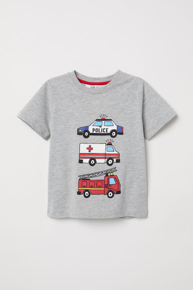 Printed T-shirt - Grey/Emergency vehicle -  | H&M CN