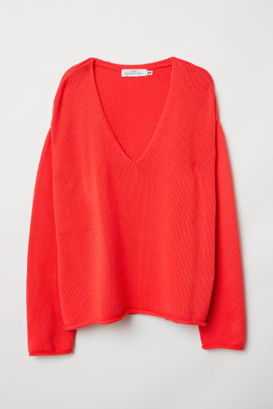 Knitted jumper - Bright red - Ladies | H&M CN