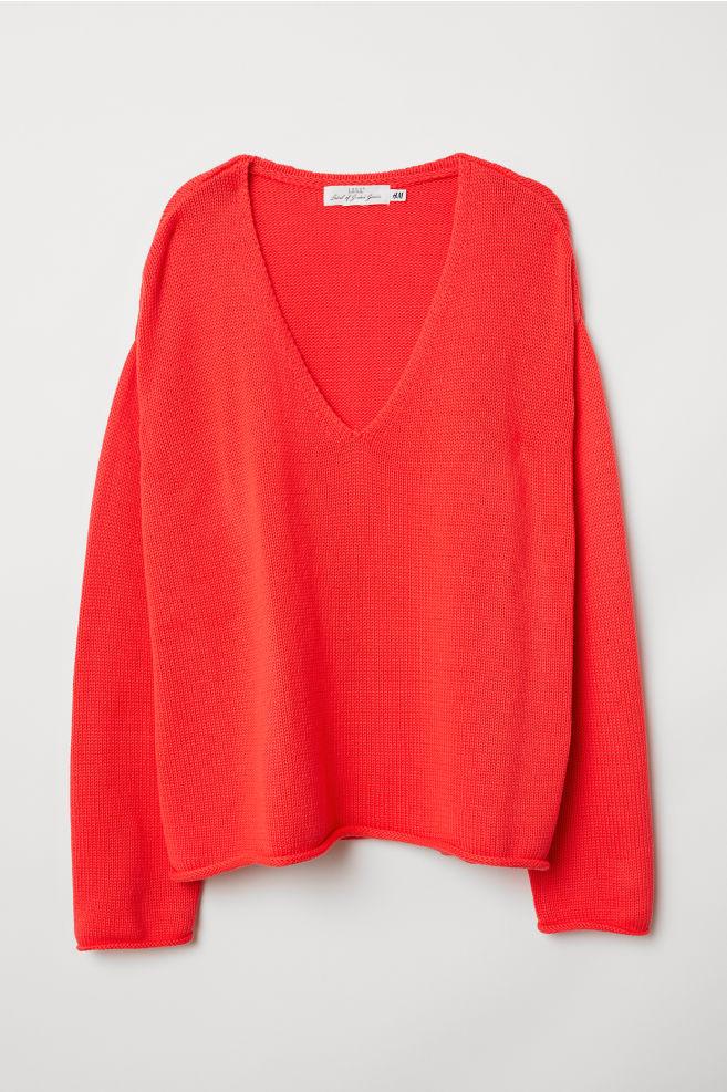 00f32902 Strikket genser - Klar rød - DAME | H&M ...