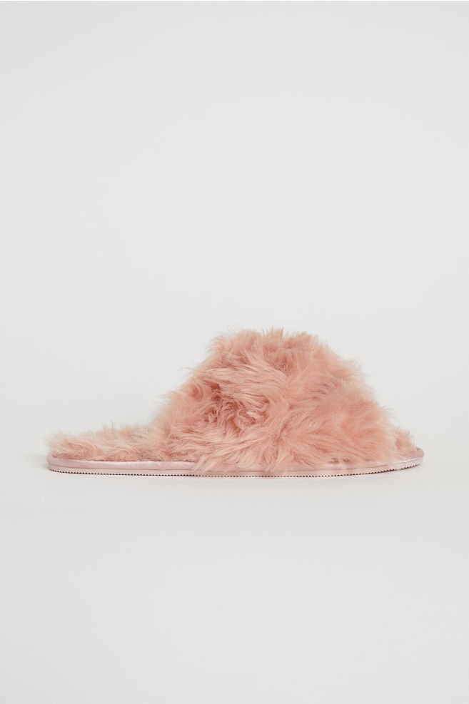 faux fur slides light pink home all h m gb