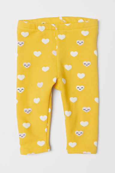 Leggings with a motif - Yellow/Hearts - Kids | H&M CN