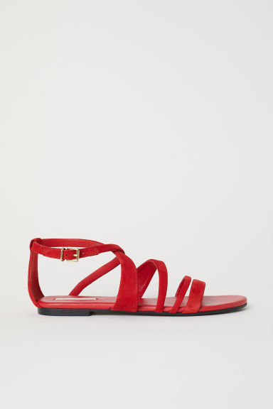 Suede sandals - Red -  | H&M