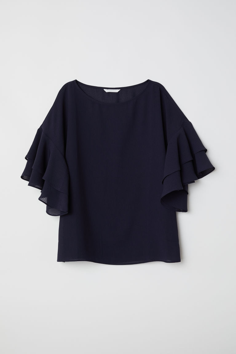 Blouse with flounced sleeves - Dark blue - Ladies | H&M