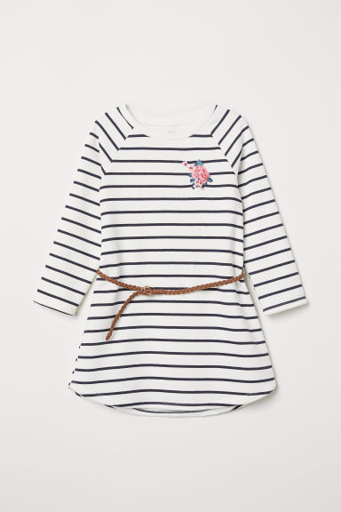Sweatshirt dress with a belt - White/Blue striped - Kids | H&M CN