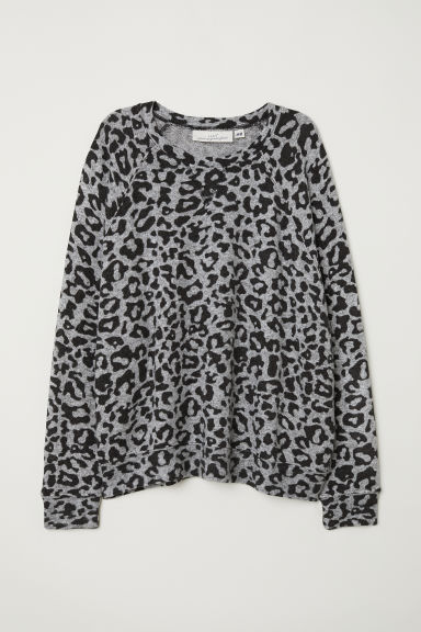 Fine-knit jumper - Grey/Leopard print - Ladies | H&M