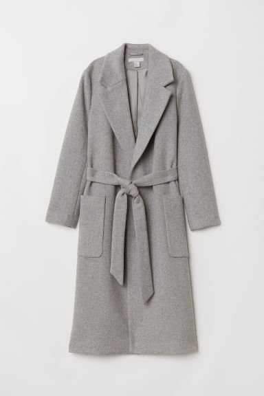 Coat with a tie belt - Light grey - Ladies | H&M