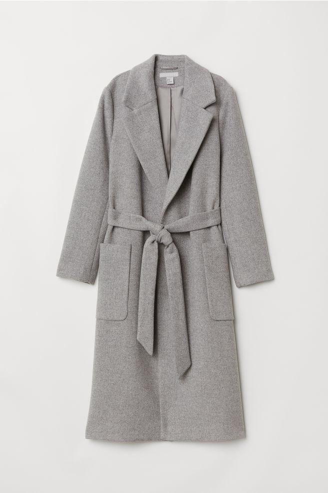 1ae623466 Casaco comprido com cinto - Cinzento claro - SENHORA | H&M ...