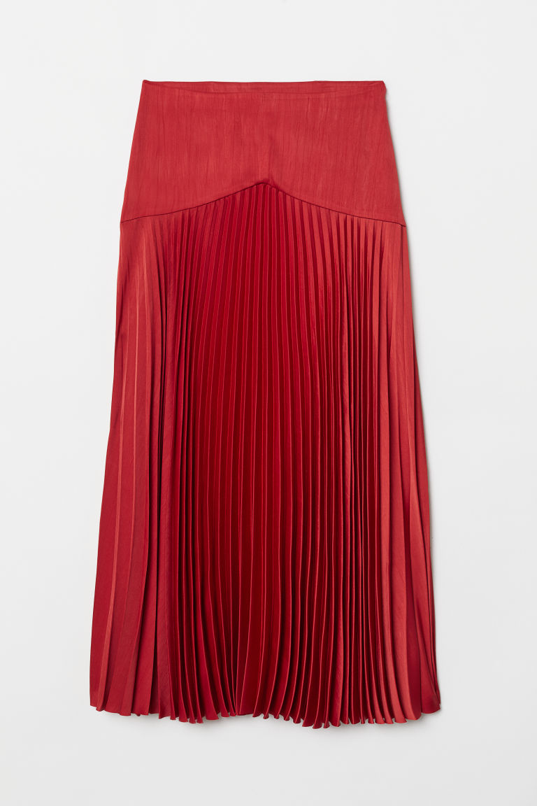 Pleated satin skirt - Bright red -  | H&M CN