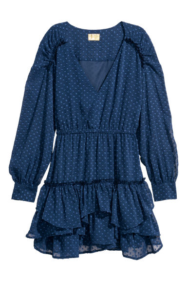 Short chiffon dress - Dark blue - Ladies | H&M