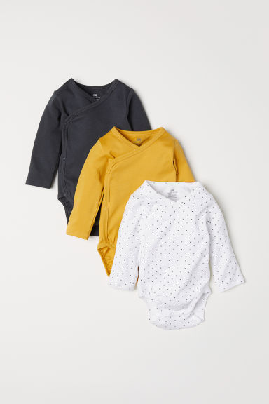 3-pack long-sleeved bodysuits - Mustard yellow/Spotted -  | H&M