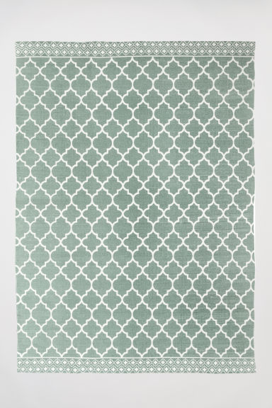 Patterned cotton rug - Verde nebbia -  | H&M IT