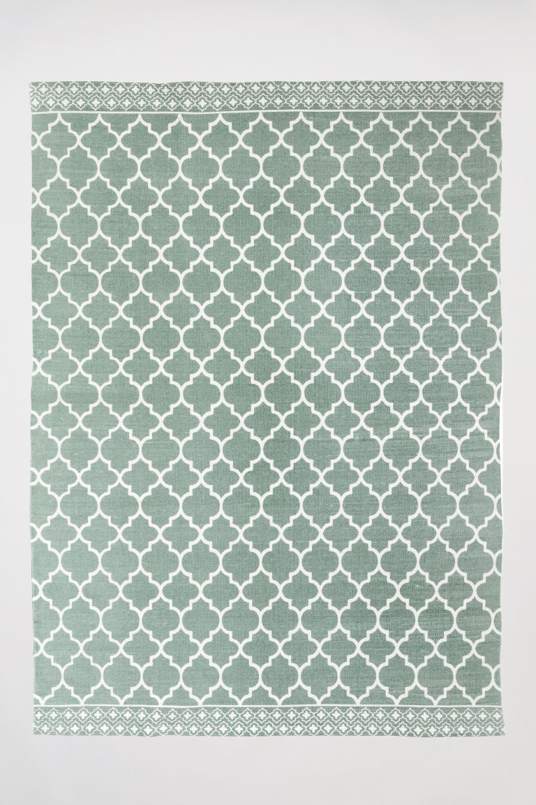 Patterned cotton rug - Dusky green - Home All | H&M CN