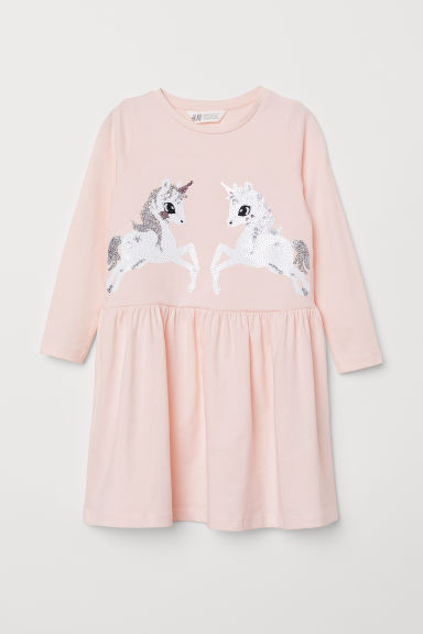 Dress with sequins - Light pink/Unicorns - Kids | H&M GB
