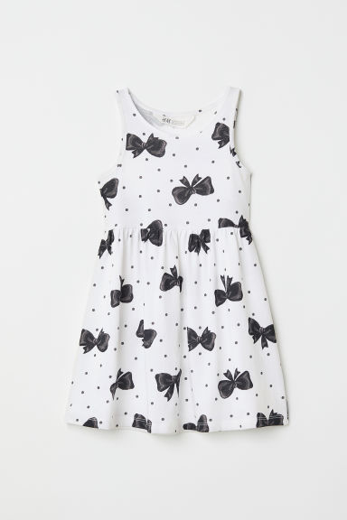 Sleeveless jersey dress - White/Bows - Kids | H&M