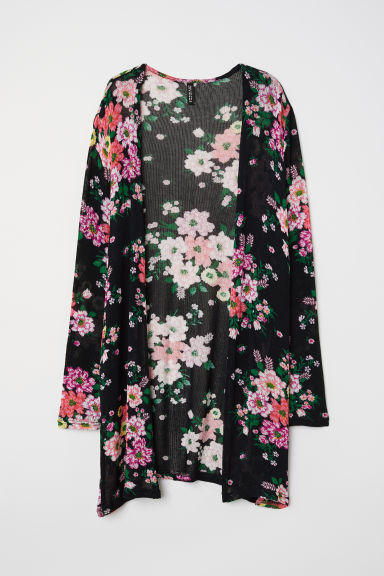 Patterned cardigan - Black/Floral -  | H&M