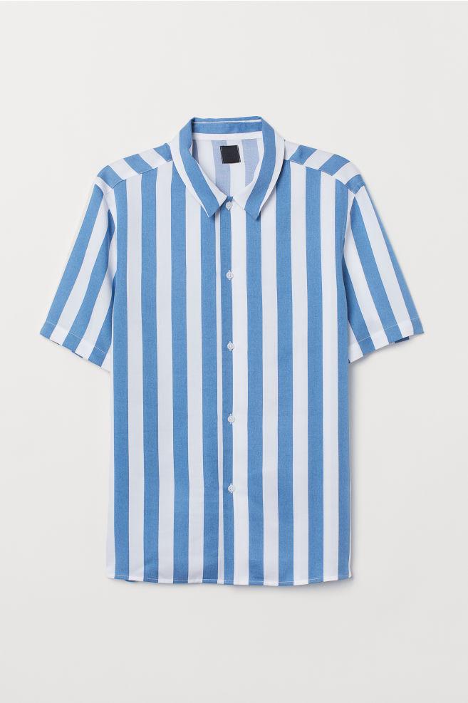 cf6c8ce68f5 ... Regular Fit Short-sleeve Shirt - Blue white striped - Men