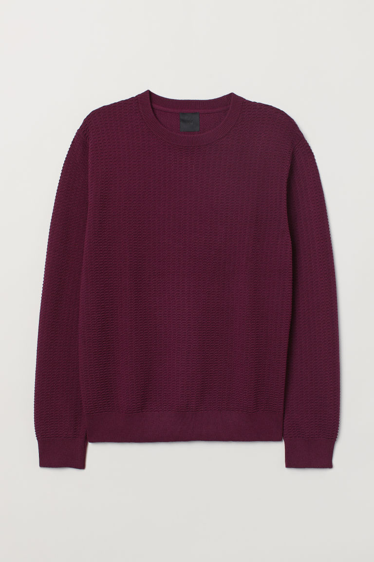Textured-knit jumper - Plum - Men | H&M GB