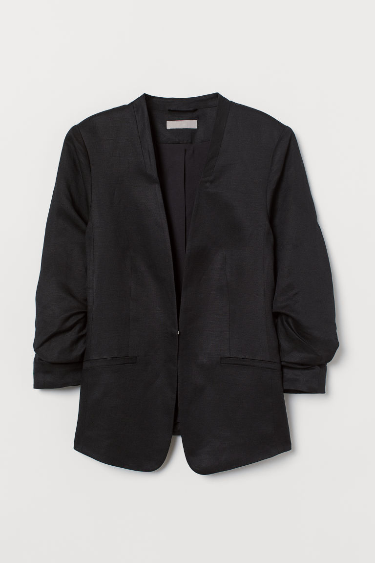 Linen-blend jacket - Black - Ladies | H&M CN