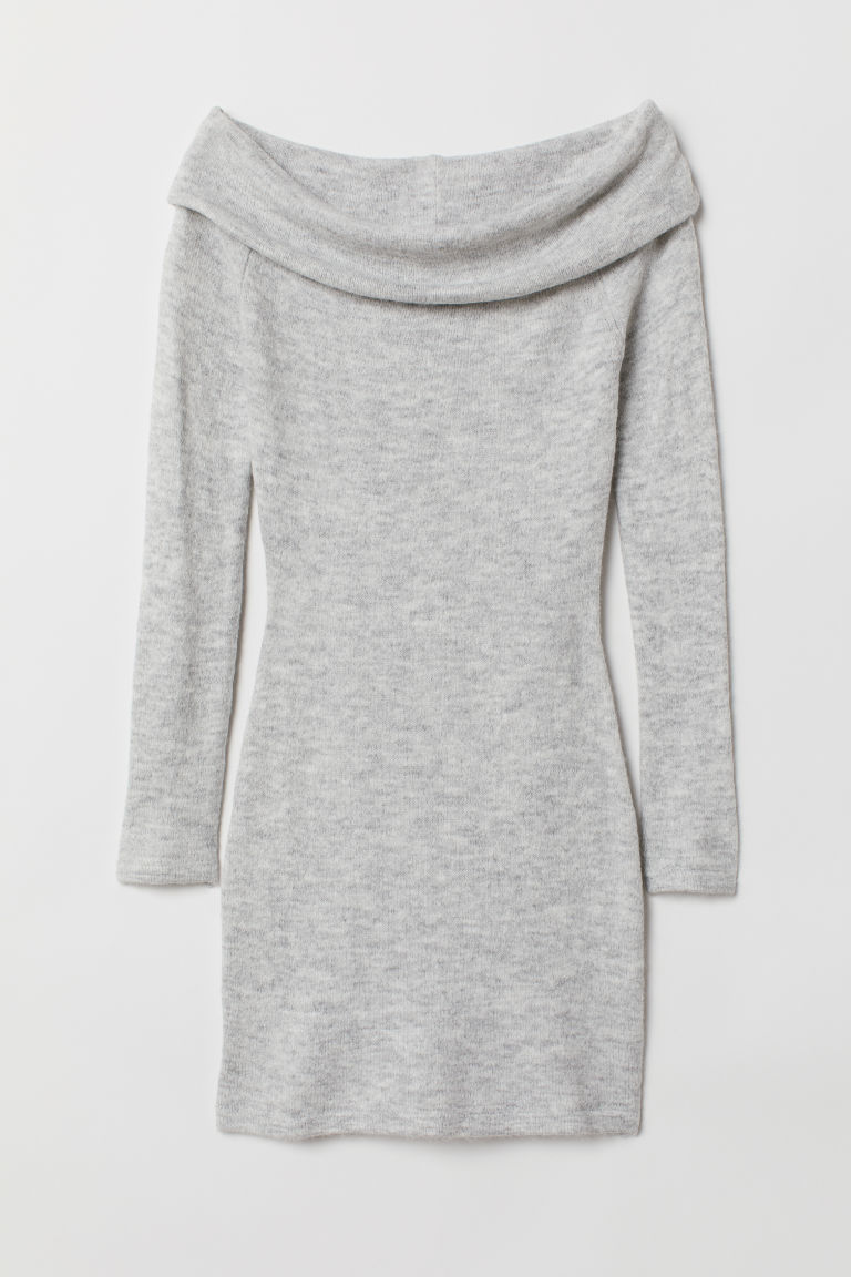 Off-the-shoulder dress - Light grey marl -  | H&M CN