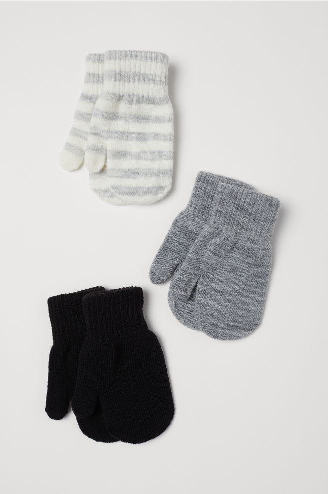 3-pack Mittens - Gray - Kids | H&M US