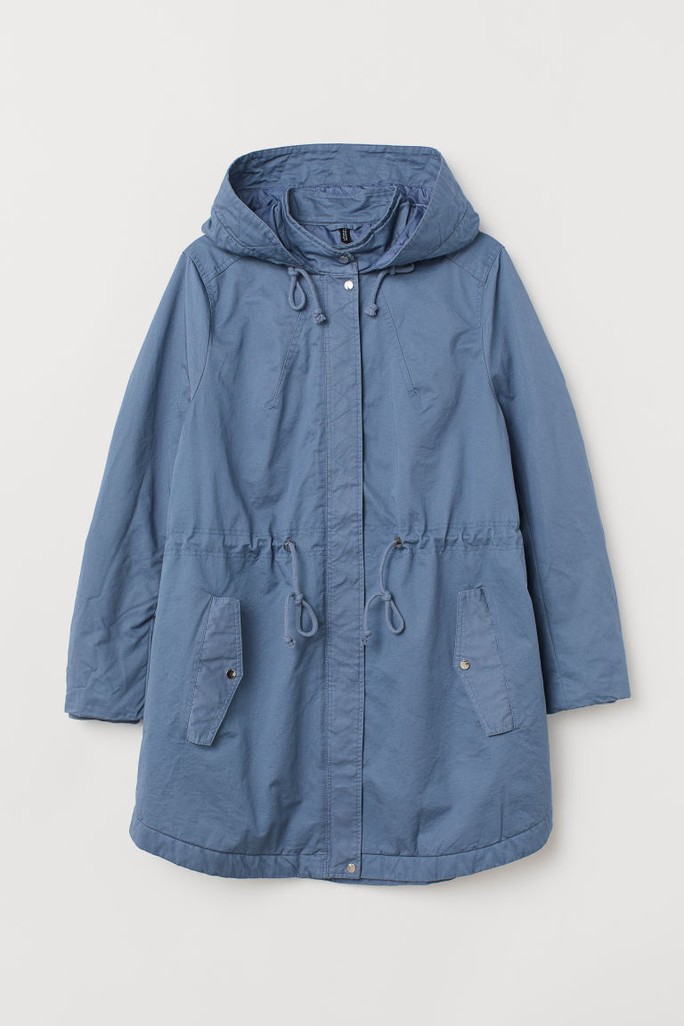 H&M+ Hooded parka - Pigeon blue - Ladies | H&M CN