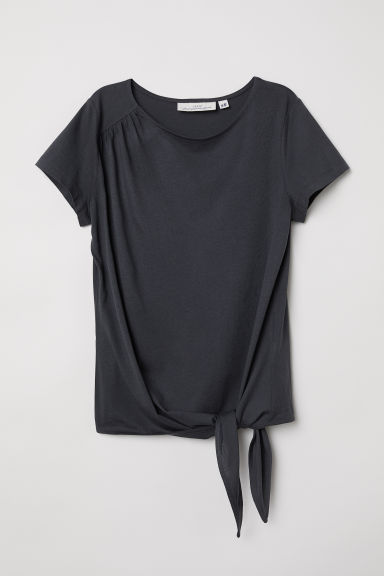 Tie-hem top - Dark grey - Ladies | H&M