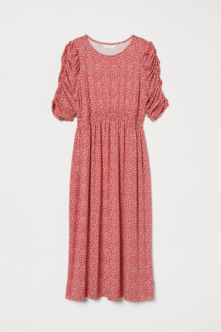 MAMA Patterned jersey dress - Red/Floral - Ladies | H&M GB