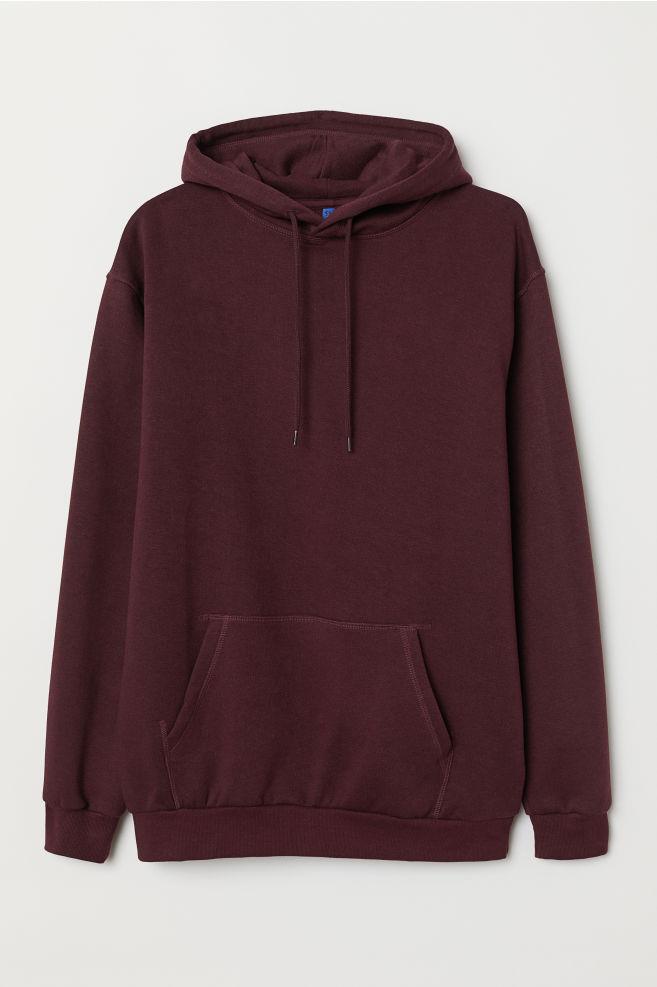 0a0607cb Hooded Sweatshirt - Burgundy - Men | H&M ...