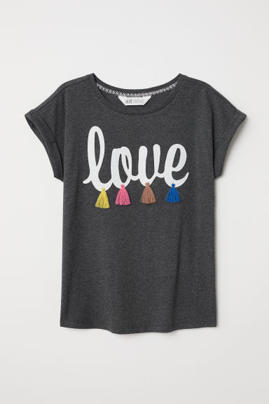 图案T恤 - 深灰色/Love - Kids | H&M CN