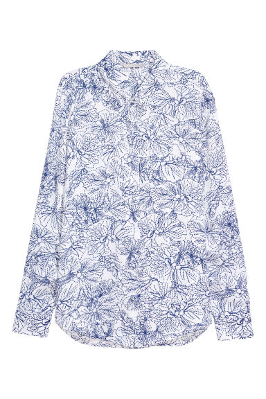 Long-sleeved blouse - White/Patterned - Ladies | H&M CN