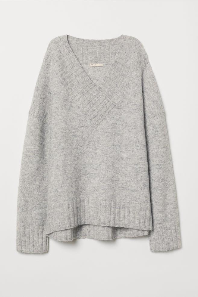 404297ee Knitted mohair-blend jumper - Light grey marl - Ladies | H&M ...