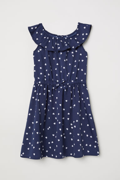 Patterned dress - Dark blue/Hearts - Kids | H&M