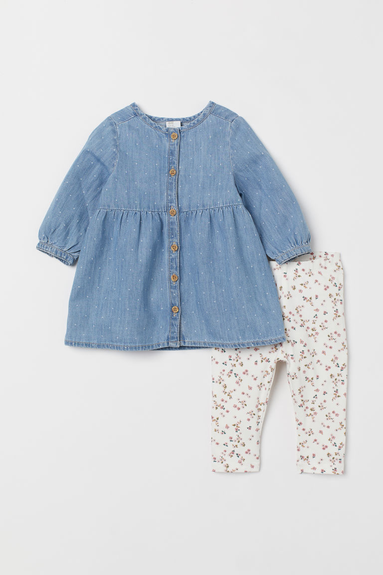 Denim dress and leggings - Light denim blue/Natural white -  | H&M