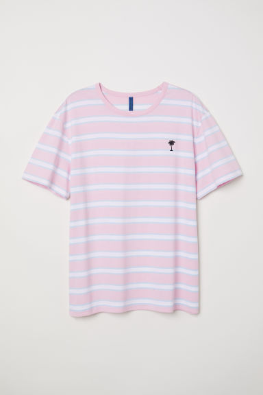Striped T-shirt - Light pink/White striped -  | H&M CN