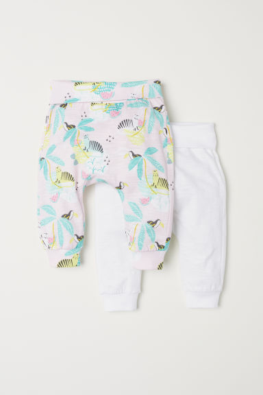 2-pack jersey trousers - Light pink/Patterned - Kids | H&M CN