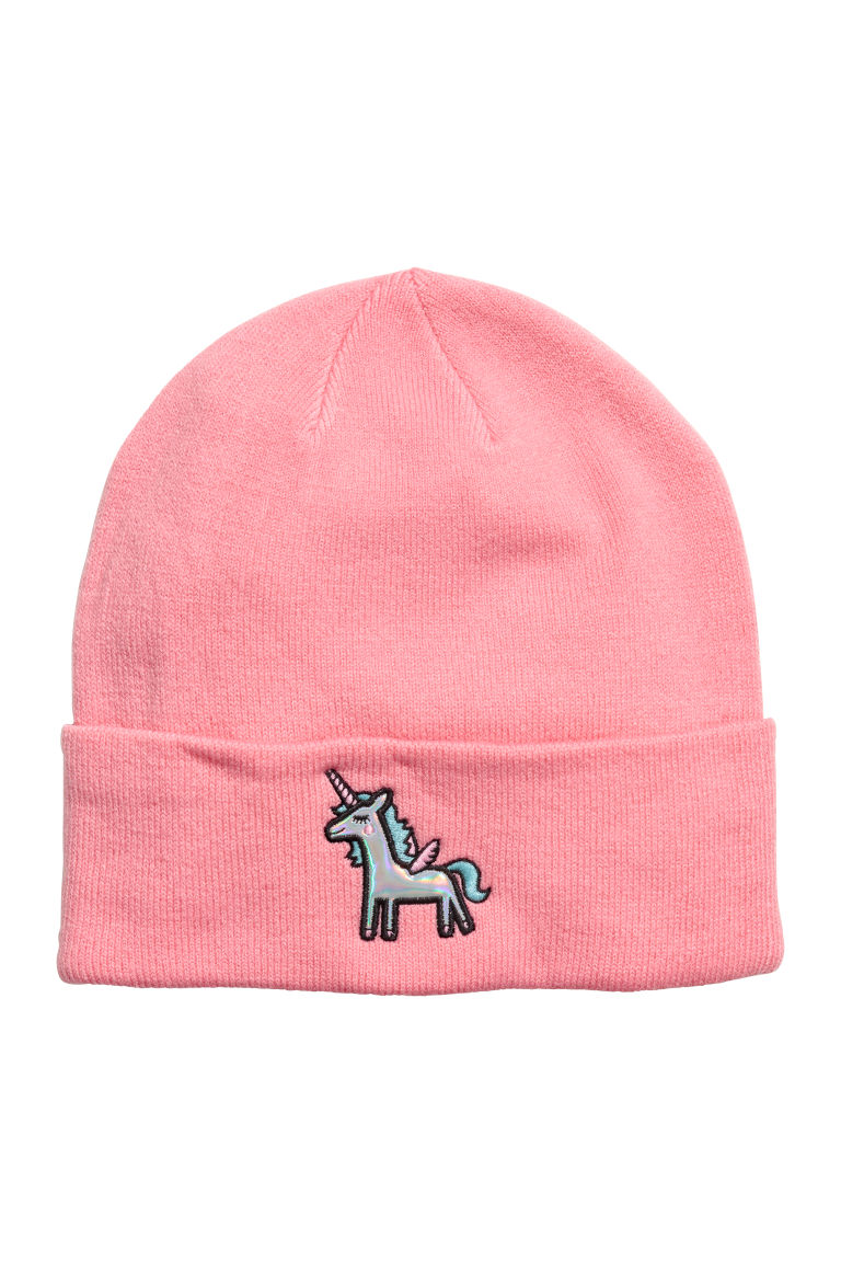 Hat with appliqué - Salmon pink - Ladies | H&M GB