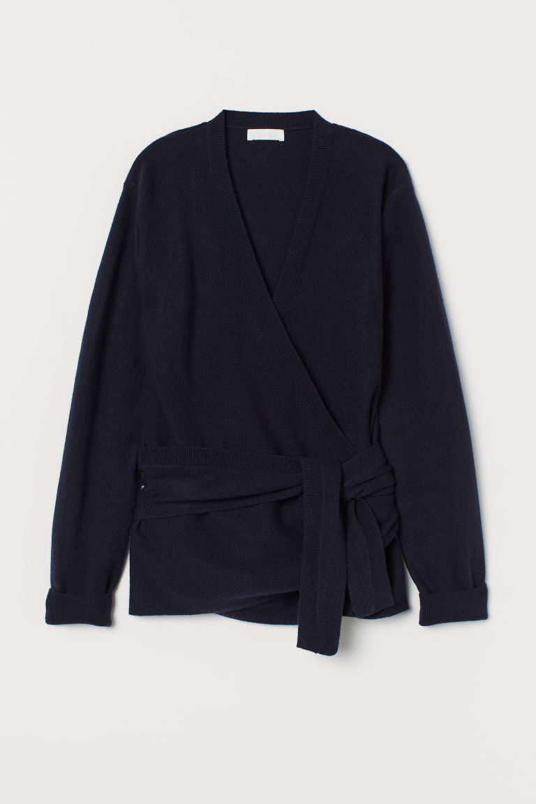 Wrapover cashmere cardigan - Dark blue - Ladies | H&M GB