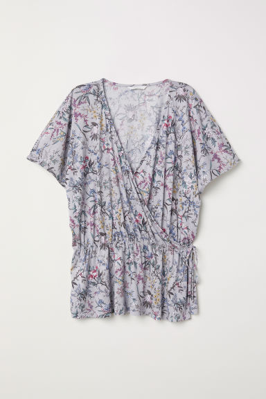 Jersey wrapover top - Light grey/Floral - Ladies | H&M