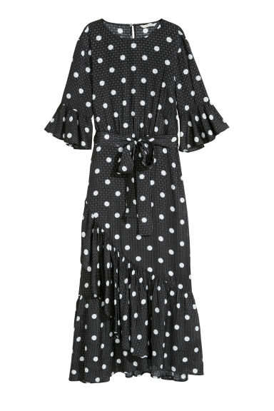 Flounced dress - Black/Spotted - Ladies | H&M CN