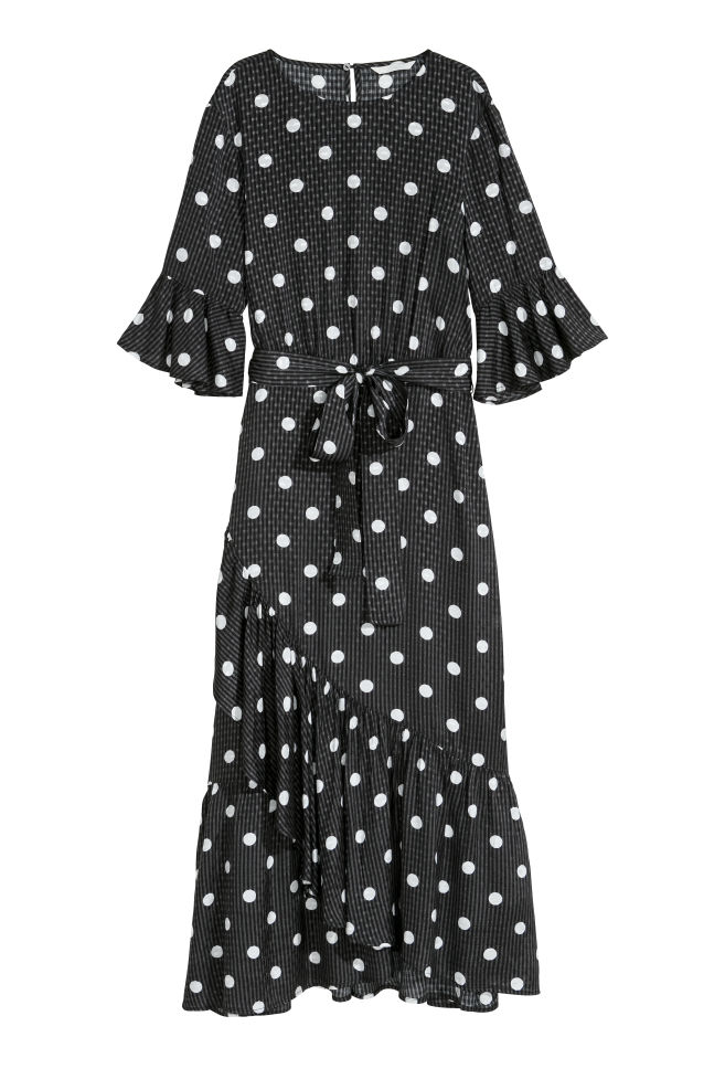 2753996a057e Flounced dress - Black/Spotted - Ladies | H&M ...